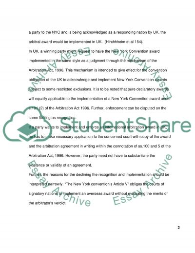Law of international commercial arbitration essay example