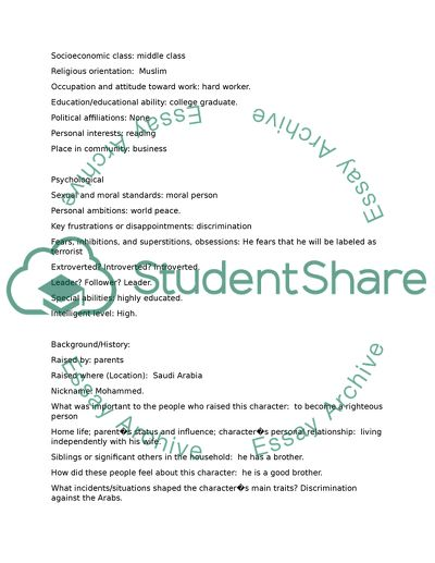 Character Development Worksheet Article Example | Topics and Well