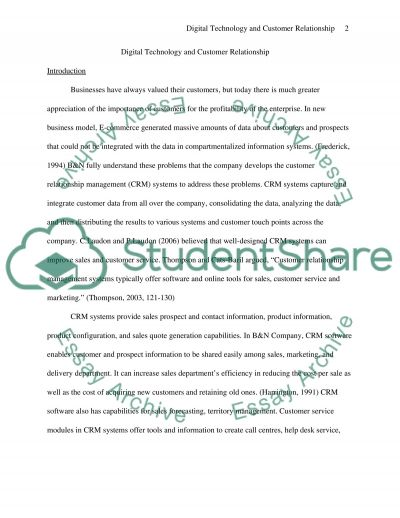 Digital Technology and Customer Relationship essay example