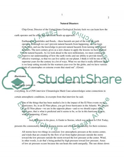 Natural disasters Essay essay example