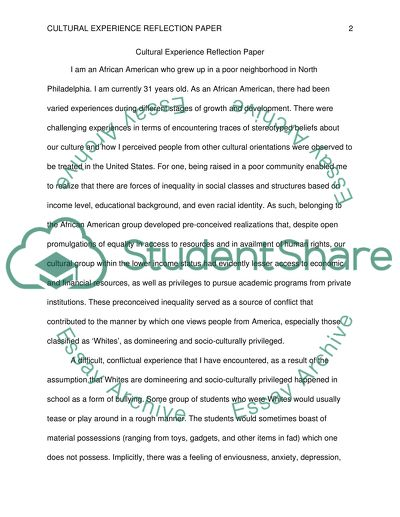 Cultural Experience Refection Paper
