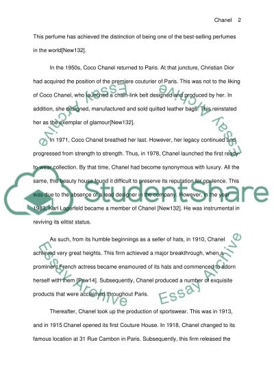 Chanels history, what was going on in the world at the time and etc essay example
