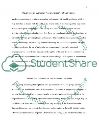 Developing and Evaluation Plan essay example