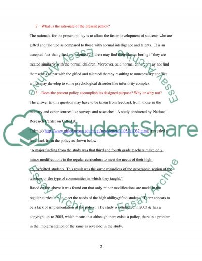 Present policy essay example