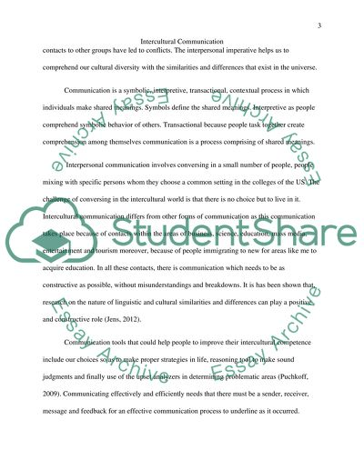 Interculture communication Essay Example | Topics and Well