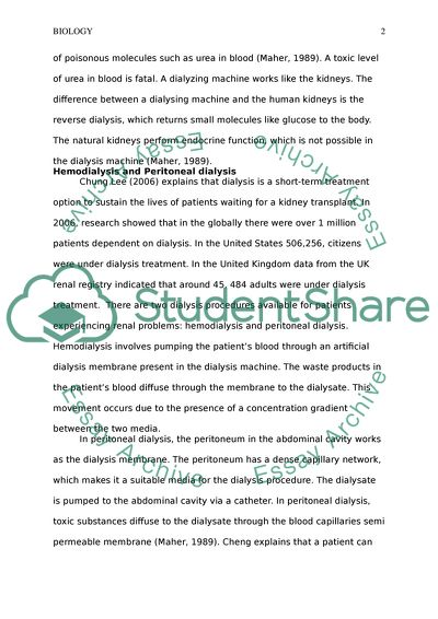How Dialysis Treatment For Kidney Failure Relies On An Understanding Essay