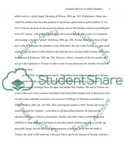 A literature review of gifted sutdents essay example
