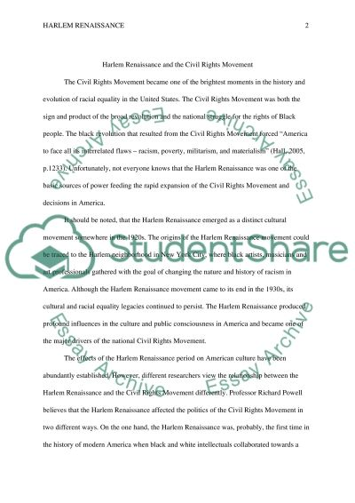 harlem renaissance and the civil rights movement essay harlem renaissance and the civil rights movement essay example
