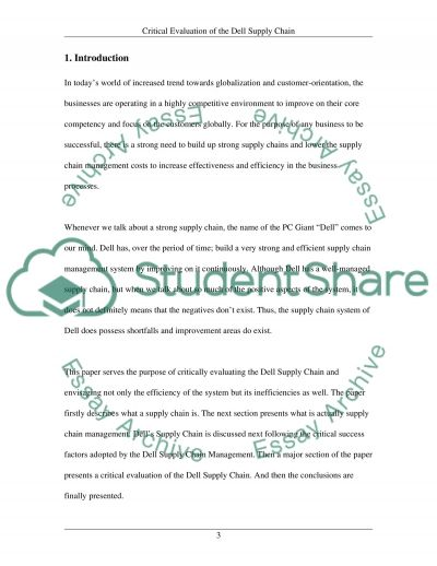 Critical Evaluation of the Dell Supply Chain essay example