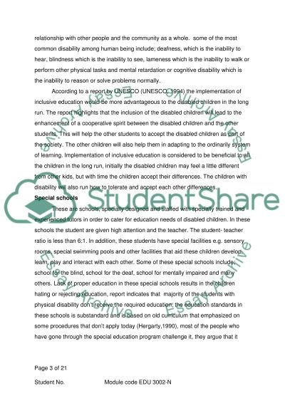 Inclusion of Disabled Children in Primary Education essay example