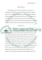 Multiple Intelligences Essay  Biggest Paper Database Multiple Intelligences Essay