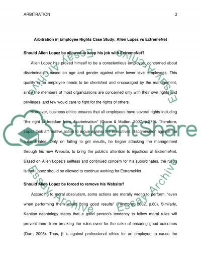 Employee Loyalty - Arbitration Paper essay example