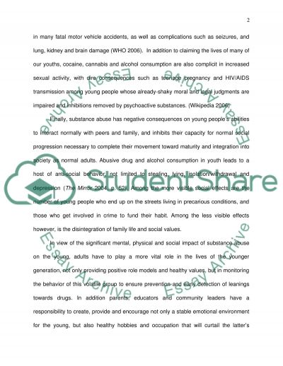 The Effects of Psychoactive Substance Abuse on Young People Essay example
