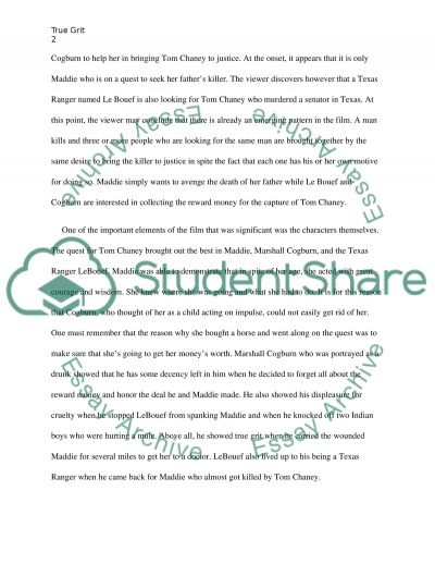 An Analysis of the Plot of True Grit essay example