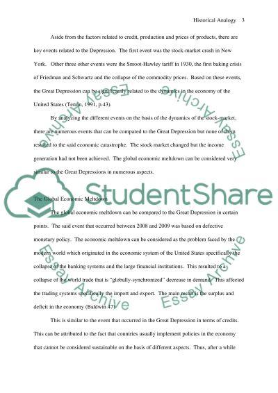 Historical analogy essay example