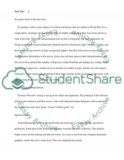 Red Tails The Movie Essay Example   Topics And Samples Online