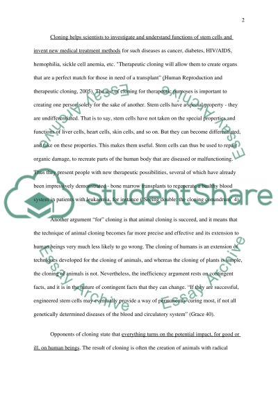 Cloning (Argument Synthesis) essay example
