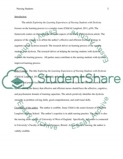 Critique essay of 2000 words on this journal article Exploring the learning experiences of nursing students with dyslexia essay example