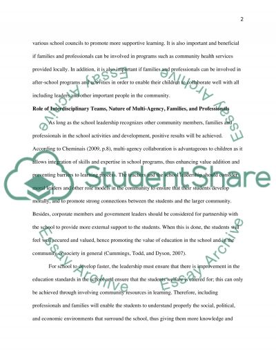 Critically Evaluate the Importance of Working With Professionals and Families in Schools essay example