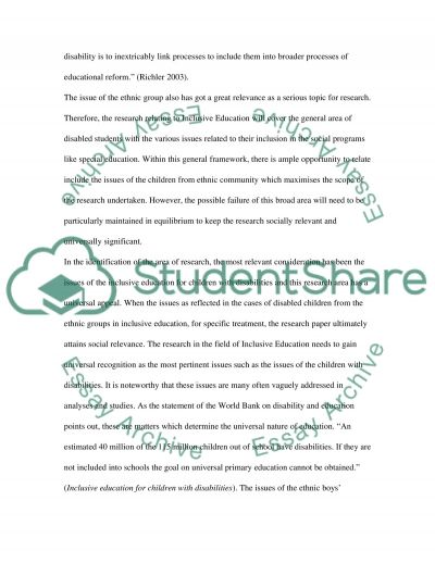 Inclusive Education Master Essay
