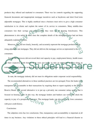 Ethical Problems in Subprime Mortgage Crisis essay example
