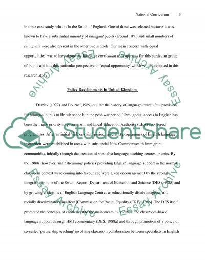 National Curriculum Coursework essay example
