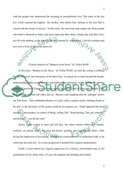Write your own critical analysis of Desirees Baby 1 page and Hunters in the Snow 1 page essay example