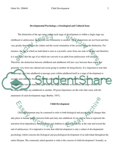 Child Development College Essay Essay example