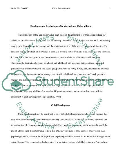 Child Development College Essay essay example