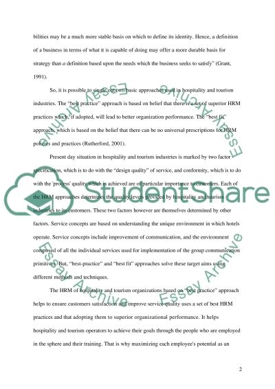 Human Resource Management: tourism industry Essay example
