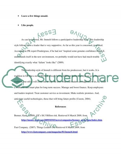 Leadership Style and the General Electric essay example