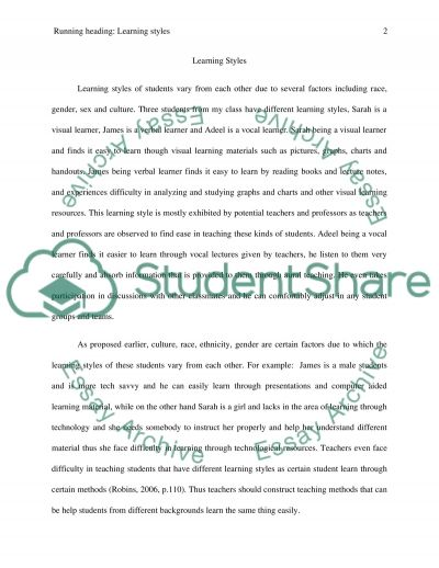Differing Learning Styles essay example