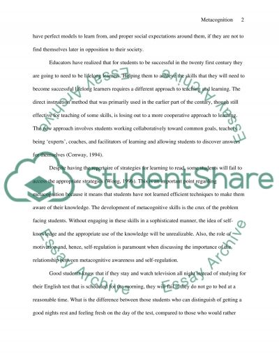 metacognition essay example topics and well written essays related essays