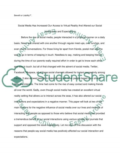 Are social media and increasing access to virtual reality altering our social interactions and expectations essay example