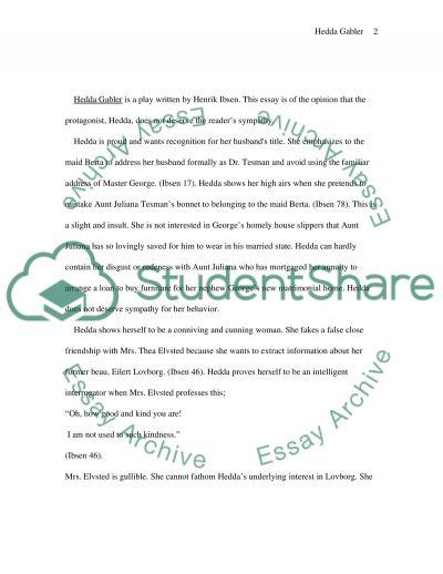Hedda Gabler Essay essay example