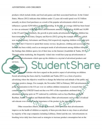 effect of advertising on children essay