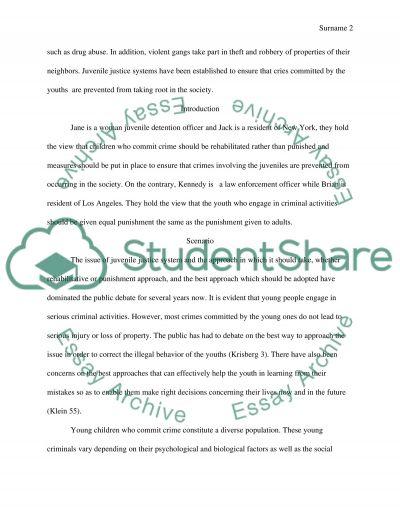 Juvenile justice system- harsh punishments vs. lighter punishments essay example