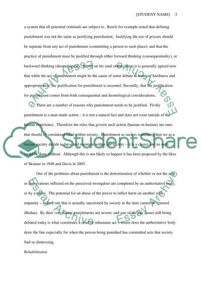 A Consideration of Prison Ethics: Punishment vs. Rehabilitation essay example