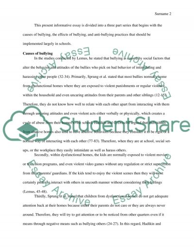 anti bullying essay example - Bullying Essay Example