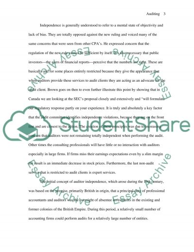Auditors independence essay example