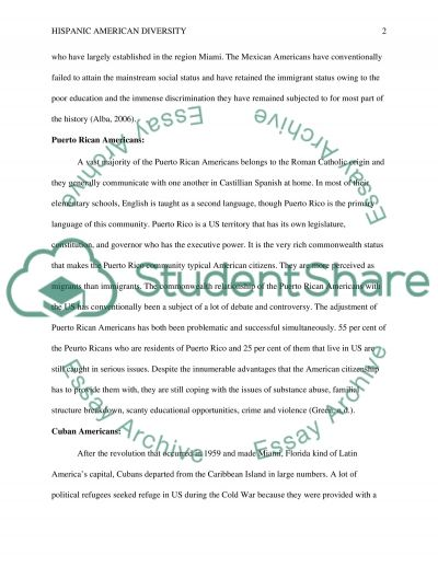 Hispanic American Diversity essay example