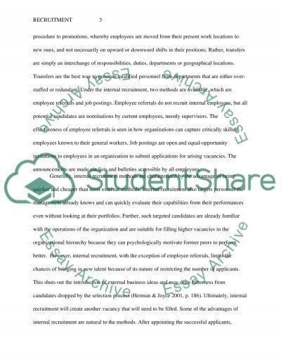 Recruitment essay example