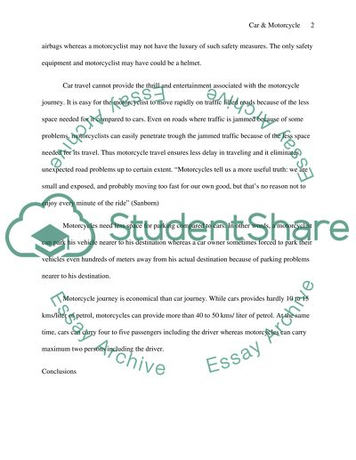 Compairing and contrast (using car as a means of transport and using a Essay