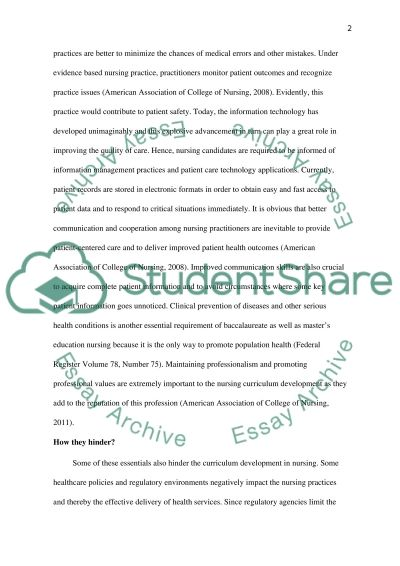 Curriculum Development Essay example