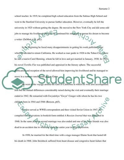 steinbeck research paper