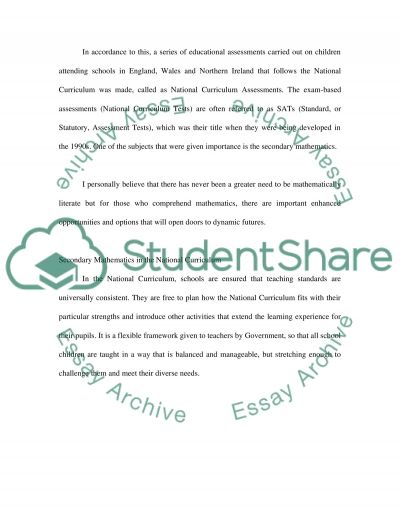 Reflective Case Study on the Assessment and Evaluation of Secondary Mathematics essay example