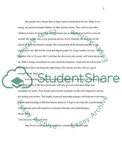 Personal Essay for Sociology Internship Program