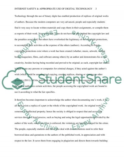Internet safety & appropriate use of digital technology essay example