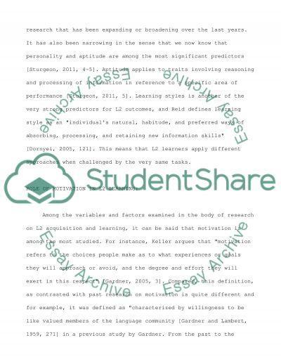 Psychology of language learning essay example