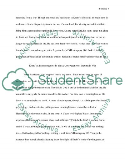 literary essay on hemingway s short story ier s home  text preview